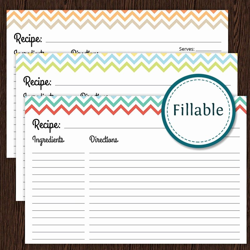Fillable Recipe Card Template Awesome Recipe Card Colourful Chevron Fillable 4x6 Recipe Card