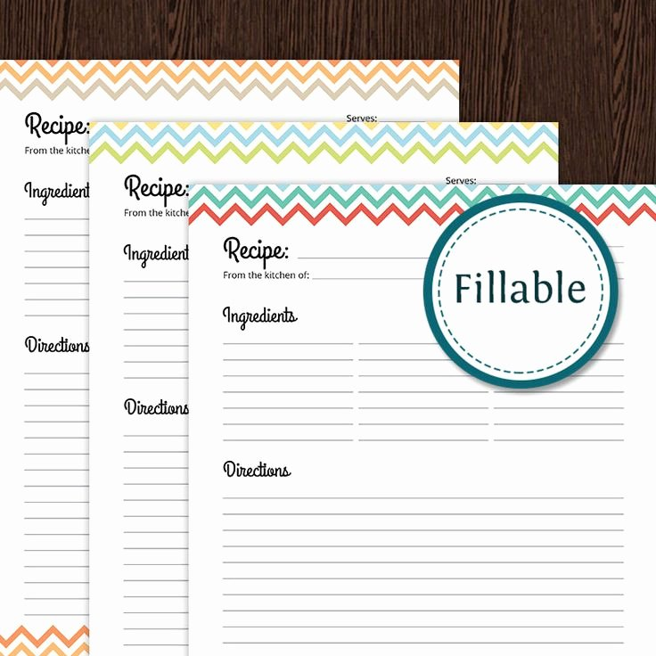 Fillable Recipe Card Template Awesome Recipe Card Full Page Colourful Chevron Fillable