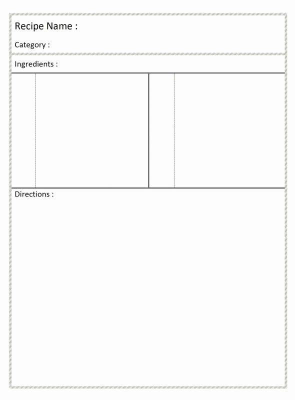 Fillable Recipe Card Template Beautiful Full Page Recipe Template for Word