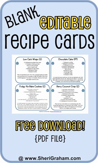 Fillable Recipe Card Template Elegant Blank Editable Recipe Cards 1 2 & 4 Card Versions Free