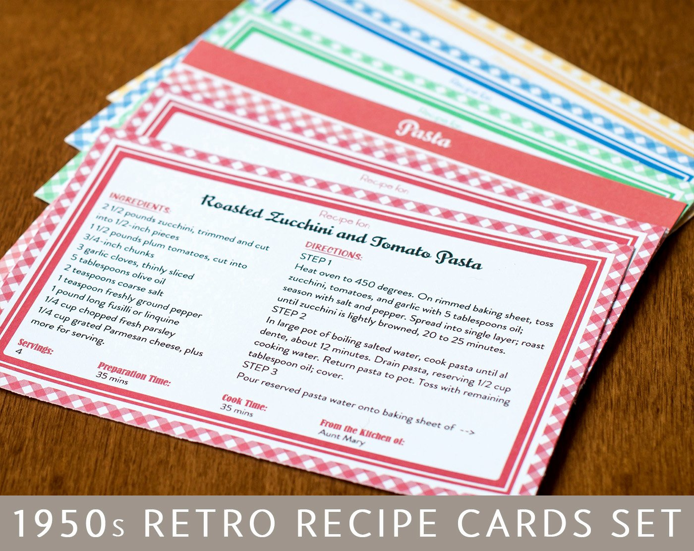 Fillable Recipe Card Template Fresh Printable Recipe Cards and Dividers Retro 1950s Design