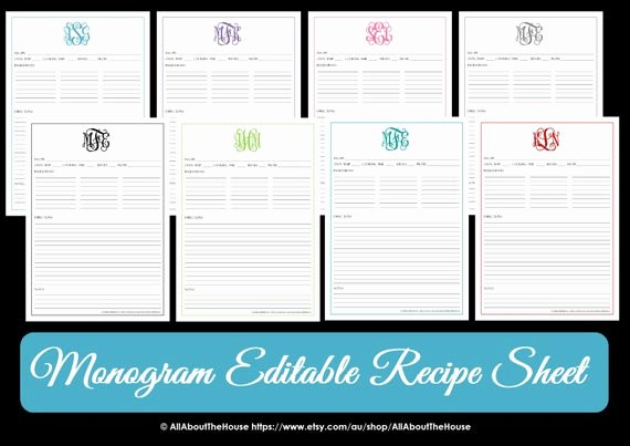 Fillable Recipe Card Template Lovely Monogram Recipe Sheet Editable Recipe Card Preppy Template