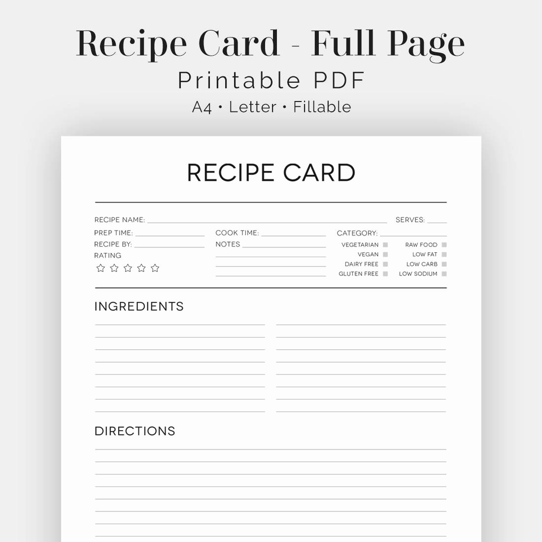 Fillable Recipe Card Template Luxury Recipe Card Full Page Black & White Fillable Printable