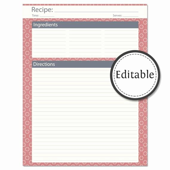 Fillable Recipe Card Template Luxury Recipe Card Full Page Fillable Instant