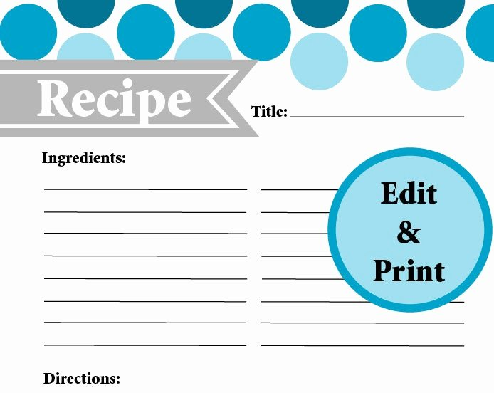 Fillable Recipe Card Template New Full Page Recipe Card Instant Download Fillable