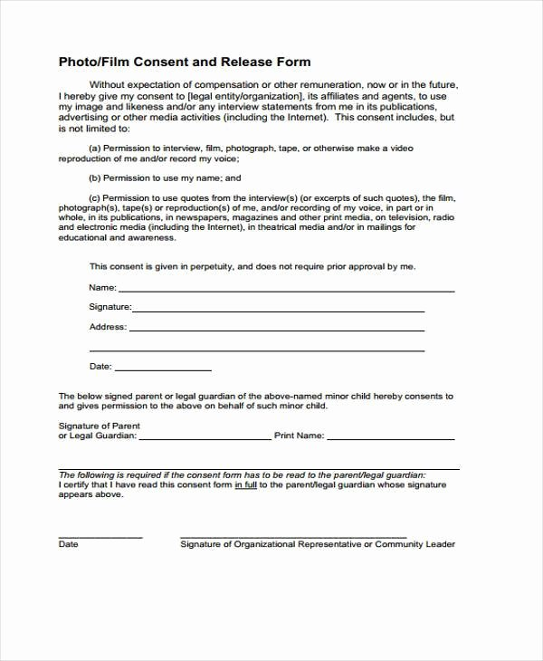 Film Release forms Templates Fresh Free 8 Sample Release forms In Pdf