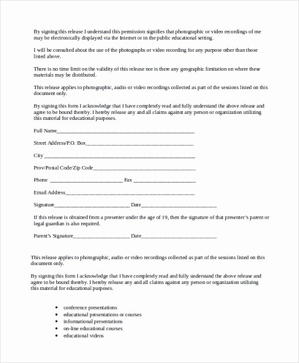 Film Release forms Templates Fresh Sample Talent Release form Template 9 Free Documents