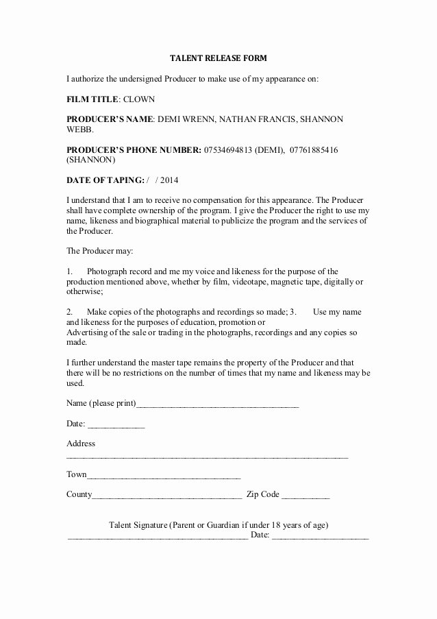 Film Release forms Templates Inspirational Talent Release form