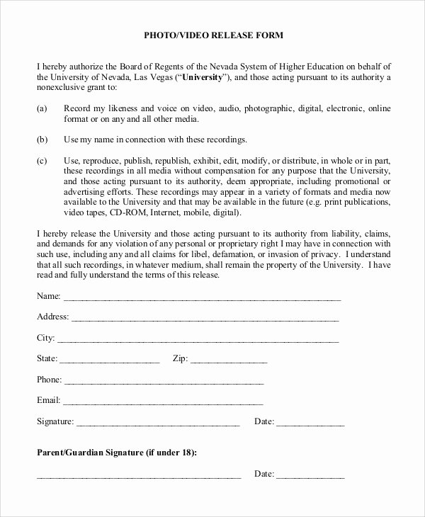 Film Release forms Templates Luxury Sample Video Release form 9 Examples In Pdf Word