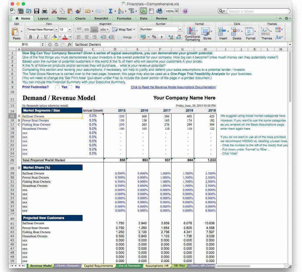 Financial Plan Template Excel Best Of Business Plan Financial Model Template Bizplanbuilder