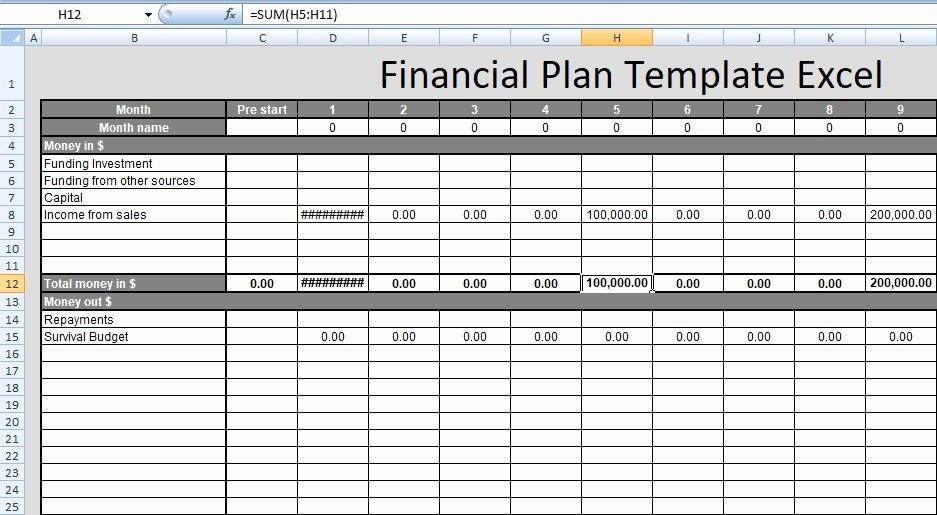 Financial Plan Template Excel Elegant Financial Plan Template Excel Free