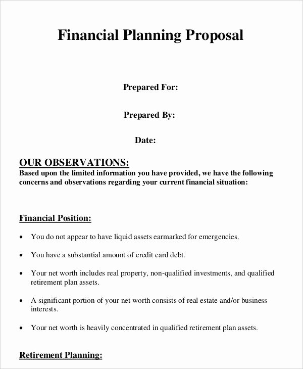Financial Plan Template Word Awesome Plan Proposal Template 10 Free Word Pdf format