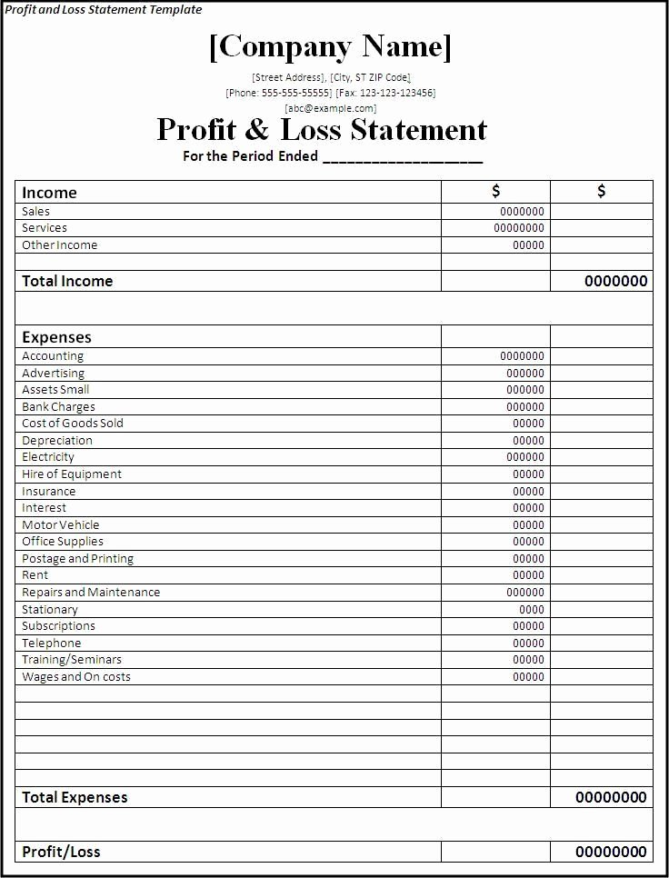 Financial Statement Template Word Awesome Profit and Loss Statement Template