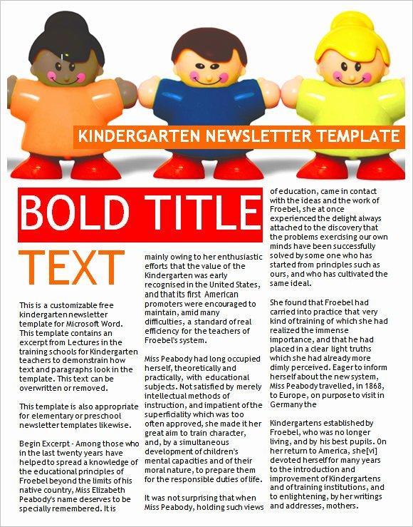 First Grade Newsletter Template Awesome Free 9 Sample Kindergarten Newsletter Templates In Sample
