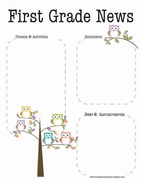 First Grade Newsletter Template Best Of Best 25 Owl Newsletter Ideas On Pinterest
