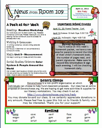 First Grade Newsletter Template Best Of Newsletter Linky Party Teaching