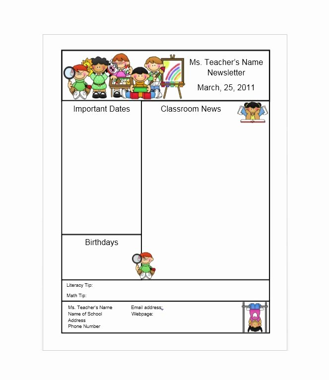 First Grade Newsletter Template Elegant 50 Free Newsletter Templates for Work School and