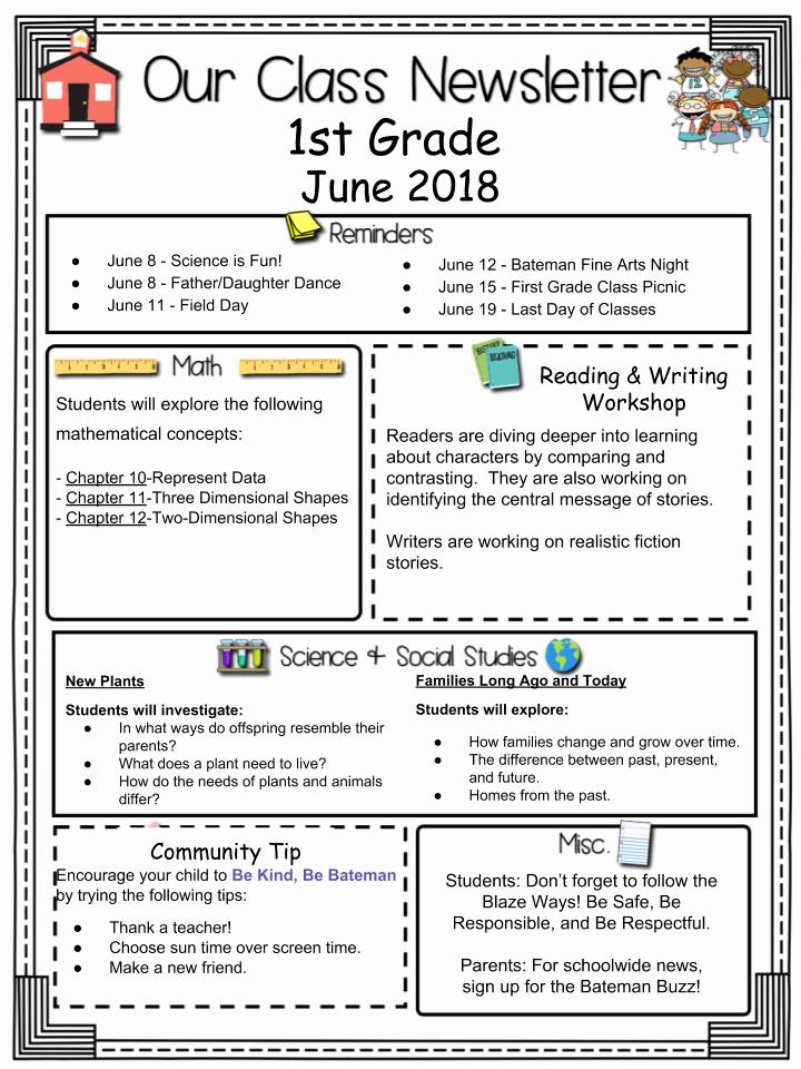 First Grade Newsletter Template Elegant Grade Level Newsletters
