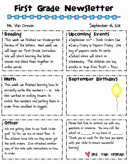 First Grade Newsletter Template Elegant the Sharpened Pencil Newsletter