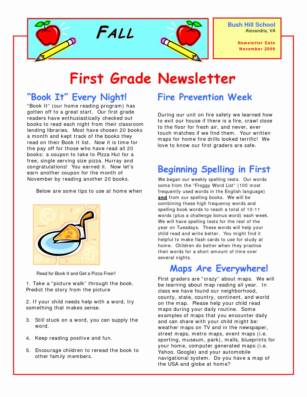 First Grade Newsletter Template Fresh Best S Of Newsletter Examples Grade 1 Classroom