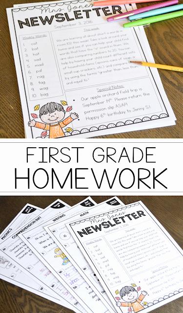 First Grade Newsletter Template Fresh Susan Jones Teaching First Grade Homework for the Entire Year