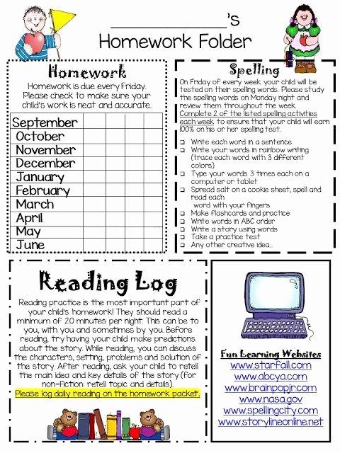 First Grade Newsletter Template Fresh the Write Spot A Homework Freebie