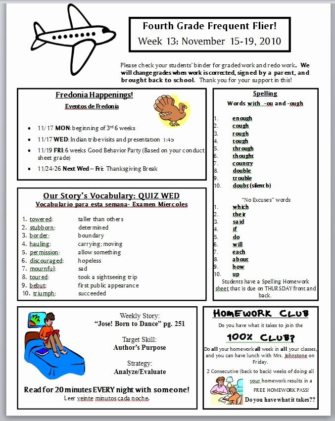First Grade Newsletter Template Inspirational Best S Of Newsletter Examples Grade 1 Classroom