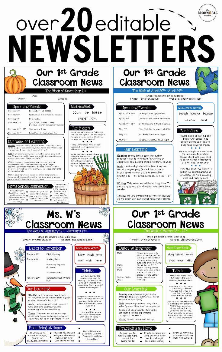 First Grade Newsletter Template Inspirational Editable Newsletter Templates Back to School