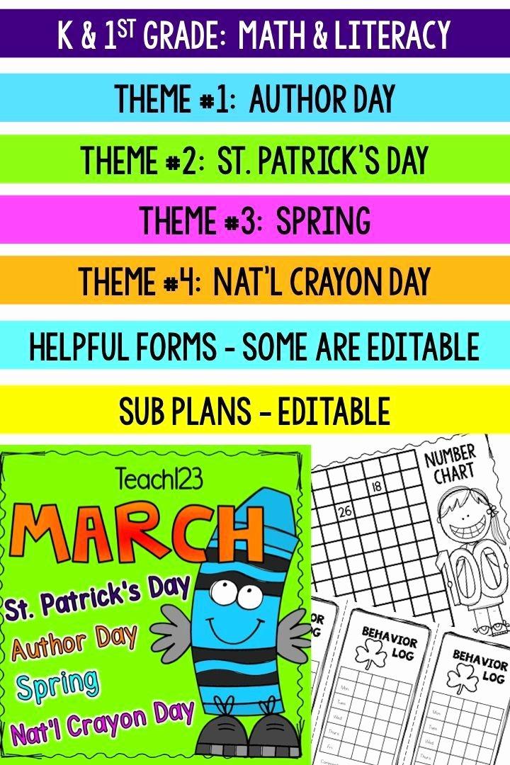 First Grade Newsletter Template Inspirational Sub Plans Kindergarten 1st Grade March