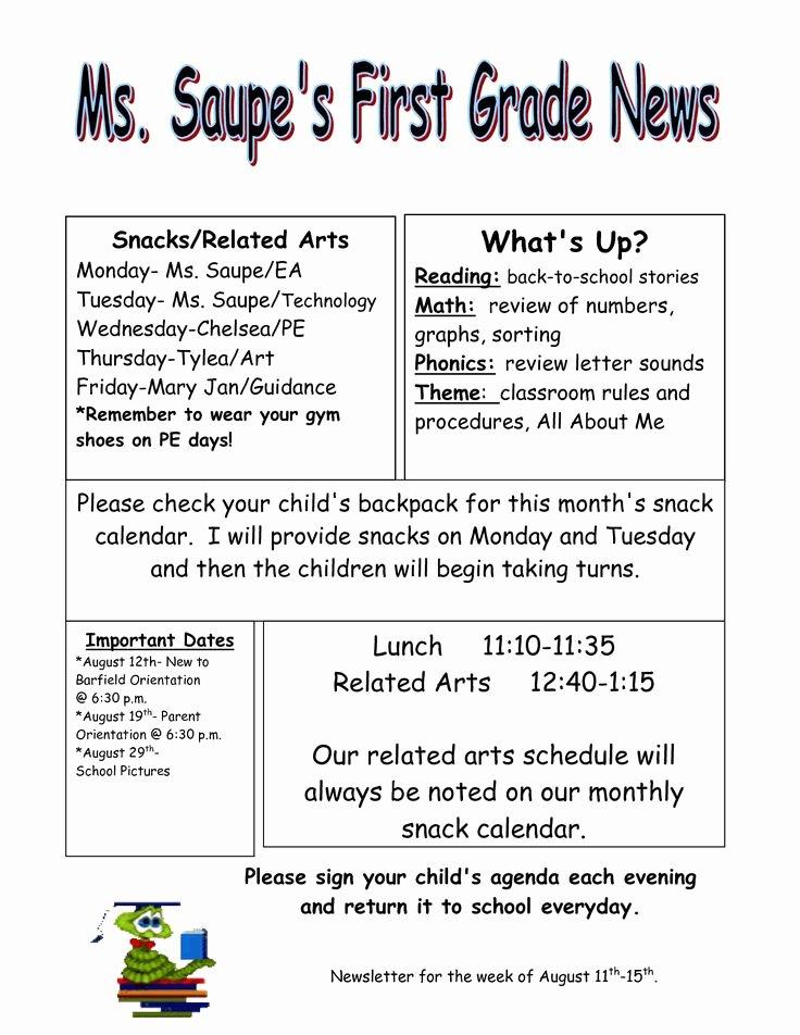 First Grade Newsletter Template Luxury Download Newsletter Templates for Teachers