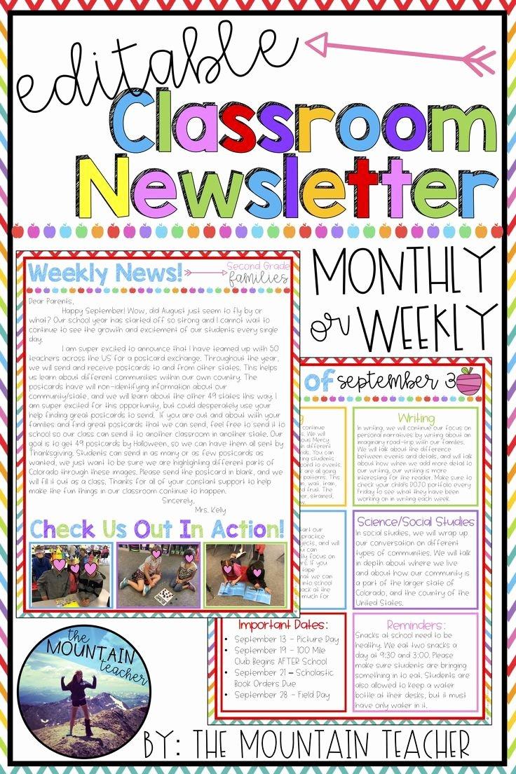 First Grade Newsletter Template Luxury Editable Newsletter Template