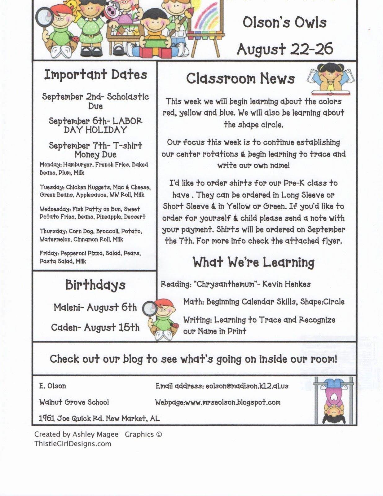 First Grade Newsletter Template Luxury Mrs Olson S Rockin Kindergarten Krew Weekly Newsletter