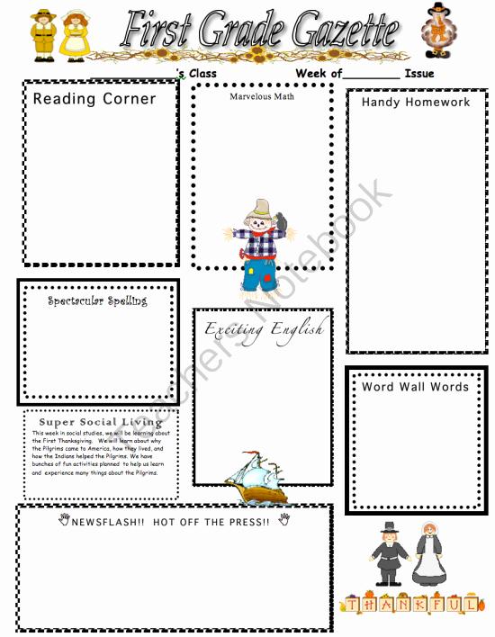 First Grade Newsletter Template Luxury Thanksgiving Holiday Home Newsletter From Our First Grade