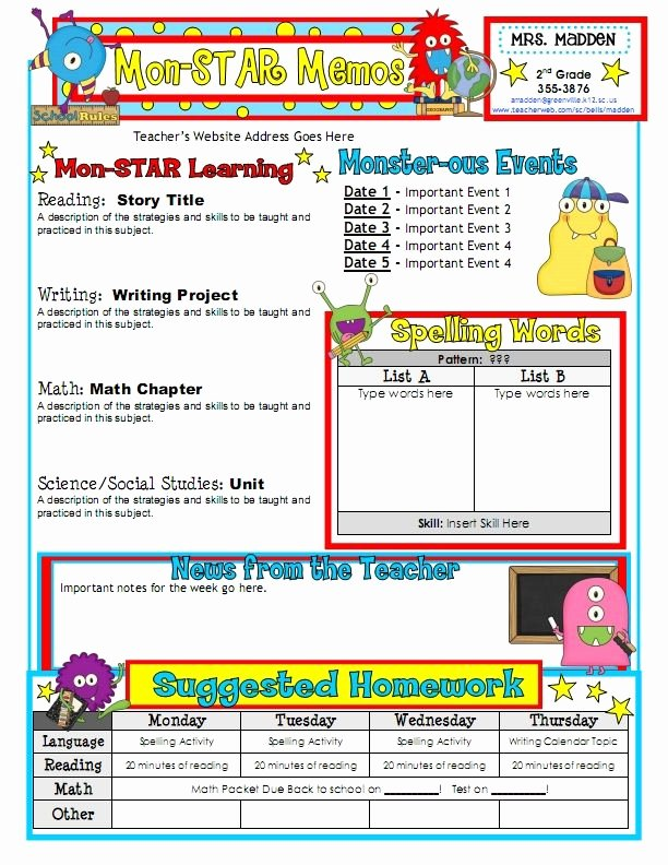 First Grade Newsletter Template Luxury Work Work Work for My Classroom