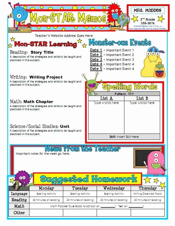 First Grade Newsletter Template New 25 Best Ideas About Class Newsletter On Pinterest