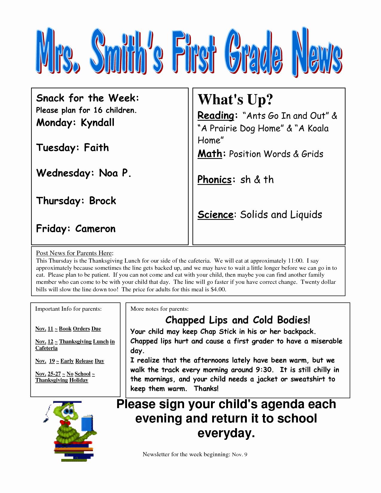 First Grade Newsletter Template New Best S Of Newsletter Examples Grade 1 Classroom