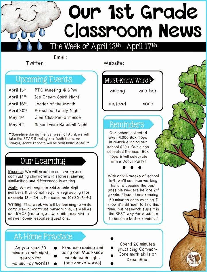 First Grade Newsletter Template New Parent Munication 1st Grade the Brown Bag Teacher