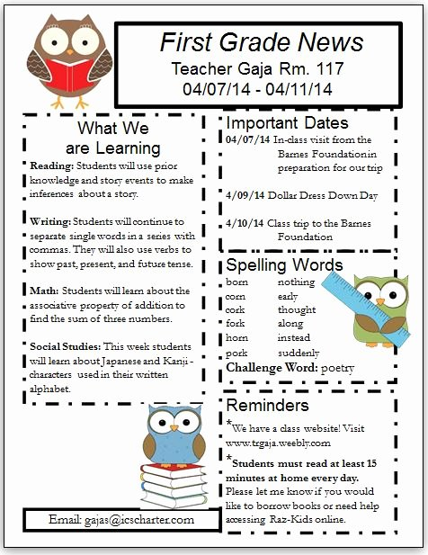 First Grade Newsletter Template Unique Blog Archives Independence Charter School First Grade