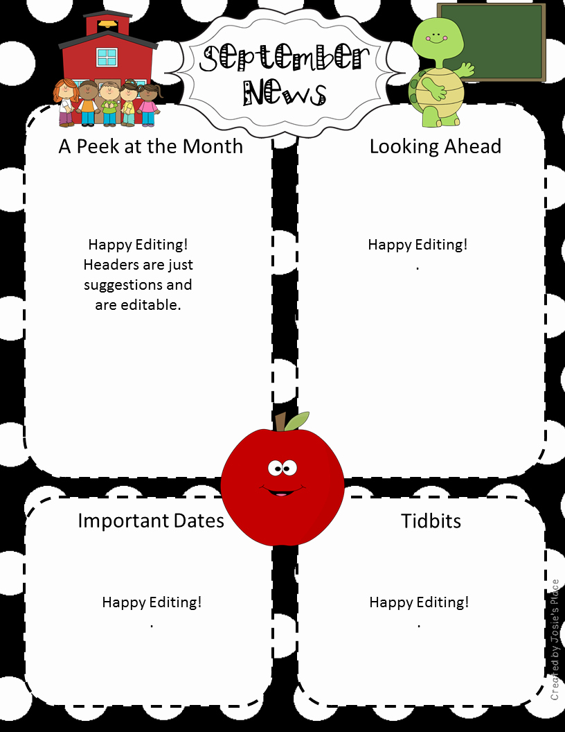 First Grade Newsletter Template Unique Editable Newsletters for the Year September Freebie