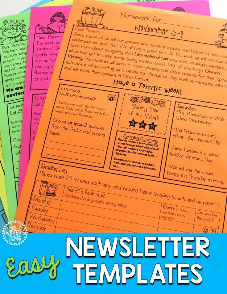 First Grade Newsletter Template Unique Homework Folder and Newsletter Template Editable