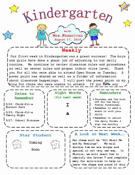 First Grade Newsletter Template Unique Kindergarten Newsletter Template 3 Free Newsletters