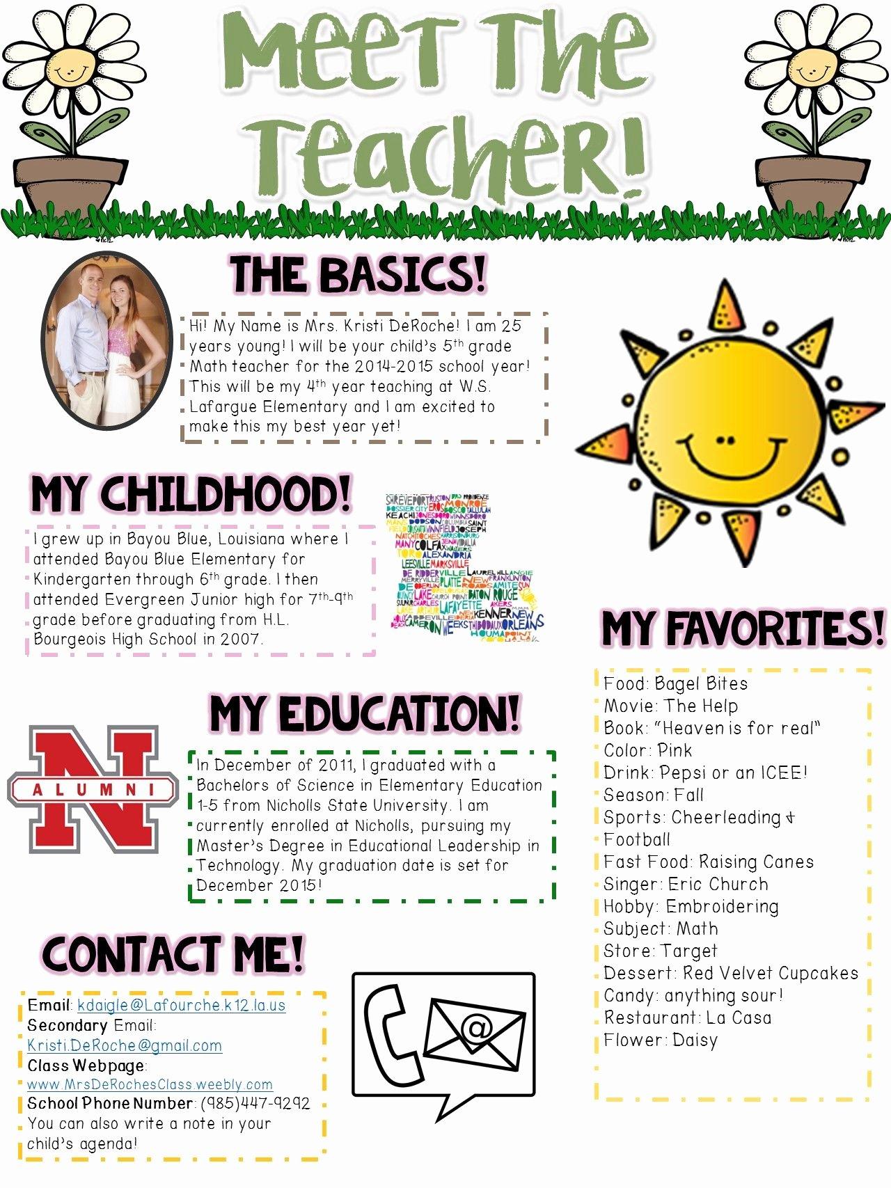 First Grade Newsletter Template Unique Meet the Teacher Newsletter Editable Spring theme