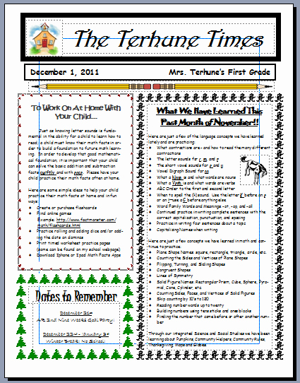 First Grade Newsletter Template Unique Teaching with Terhune Monthly Newsletters