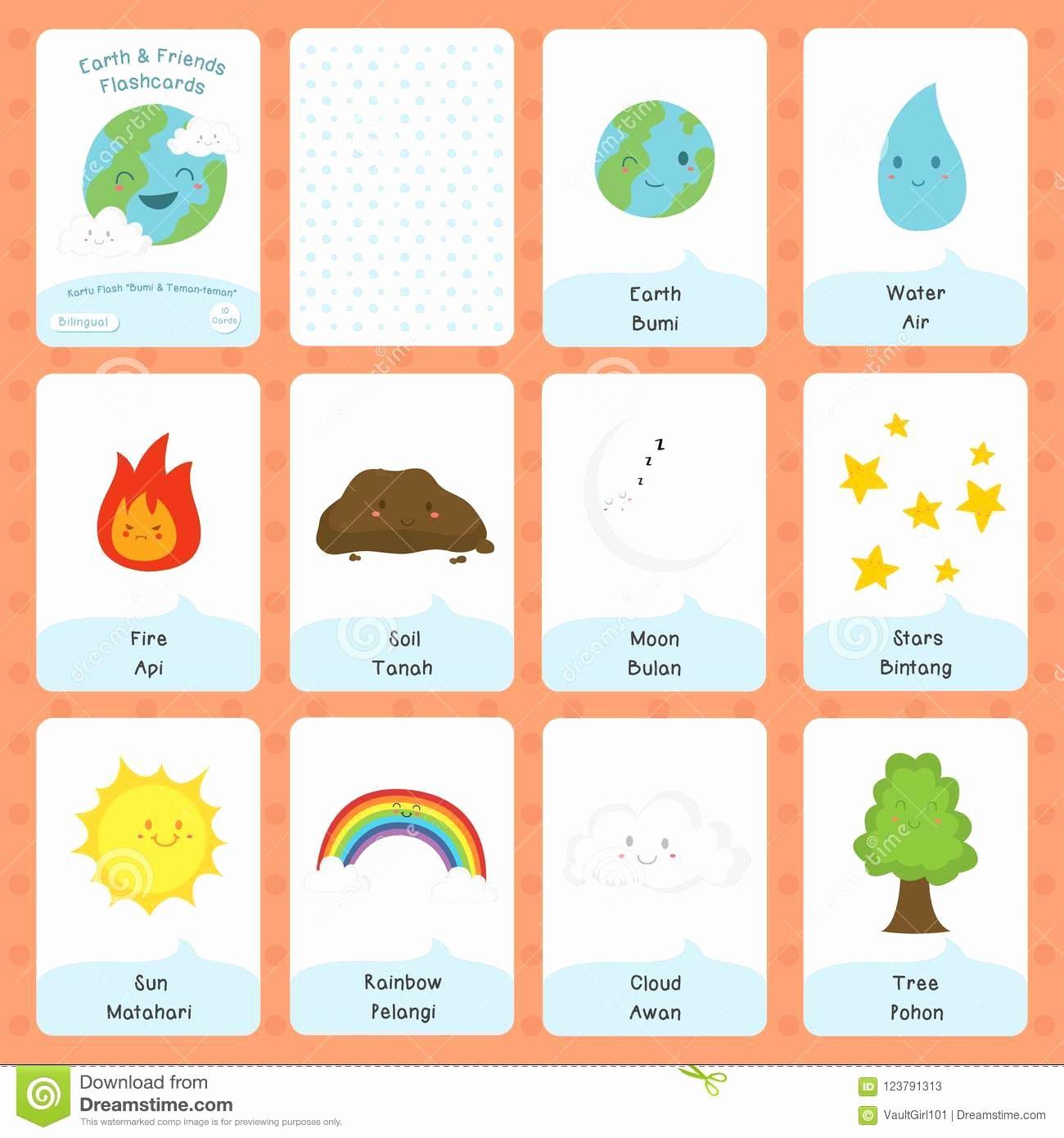 Flash Card Template Pdf Fresh Cute Earth and Friends Bilingual Flashcard Vector Design