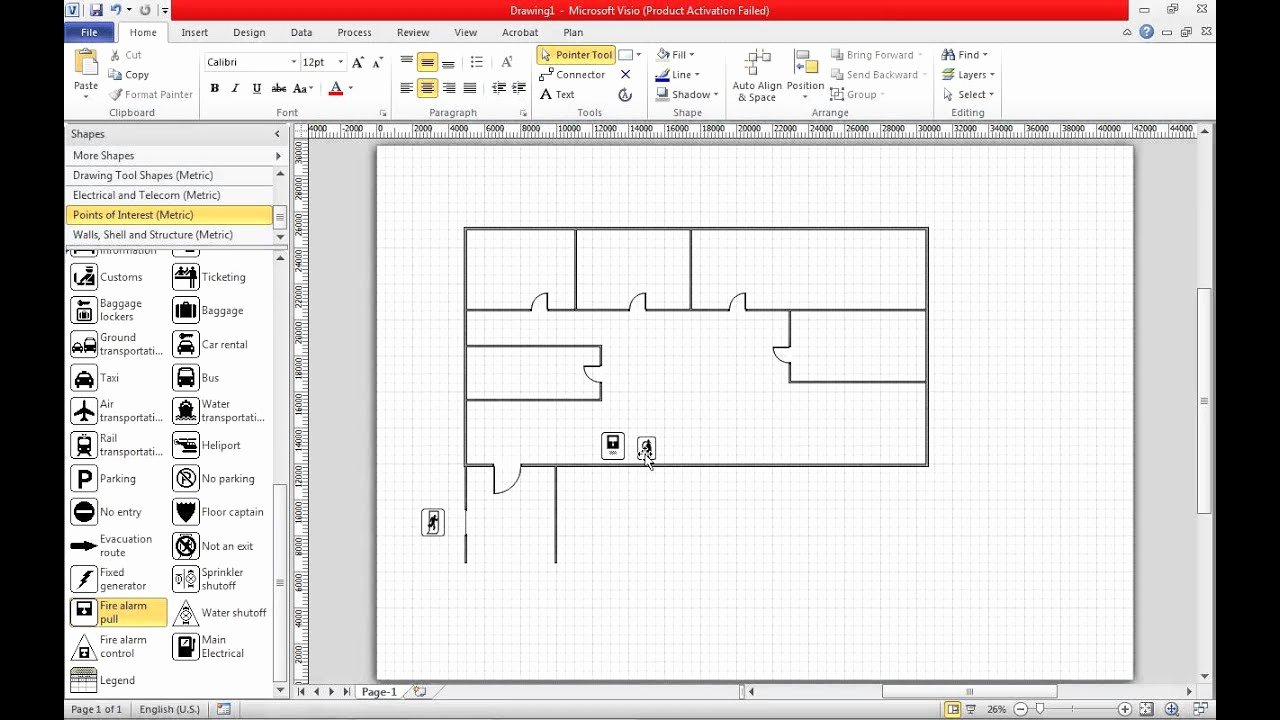 Floor Plan Templates Word New Create A Fire Escape Plan In Visio 2010