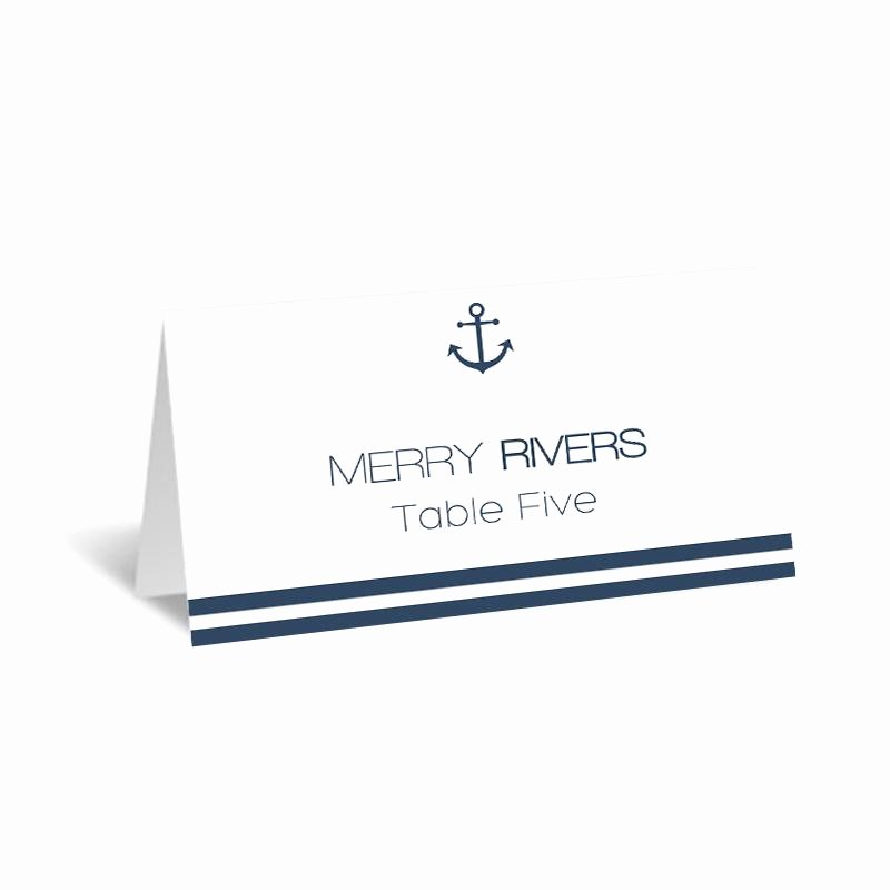 Fold Over Place Card Templates Best Of Nautical Wedding Place Card Template Foldover Navy Anchor