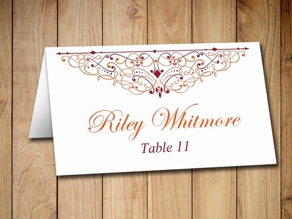 Fold Over Place Card Templates Inspirational Items Similar to Diy Wedding Place Card Template Tent