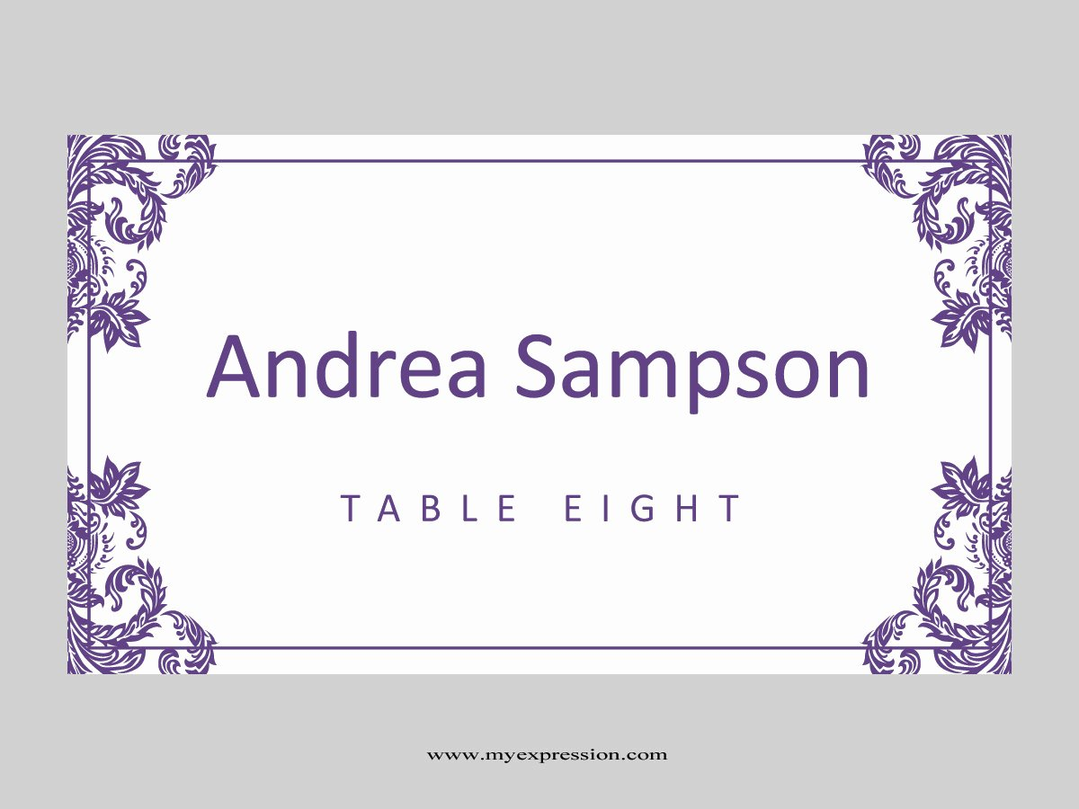 Fold Over Place Card Templates Inspirational Wedding Place Cards Template Folded Purple Damask