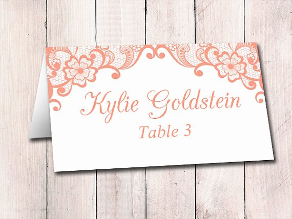 Fold Over Place Card Templates New Lace Wedding Place Card Template Fold Over Escort Card