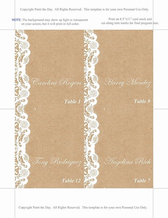 Fold Over Place Cards Template Beautiful Fold Over Wedding Place Card Template Kraft Escort Card